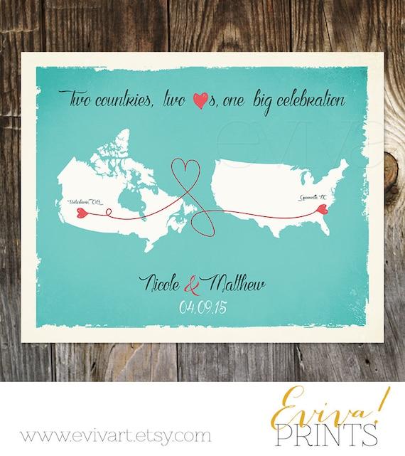 Personalized Wedding Photo Frames Canada : USA Canada Custom Wedding Print Destination Wedding Gift Memento ...