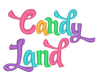Candy Land Embroidery Font - Instant Download