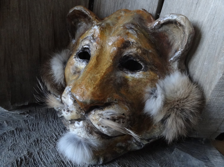 3 d masks masquerade masks paper mache lion head mask lion for Paper mache mash