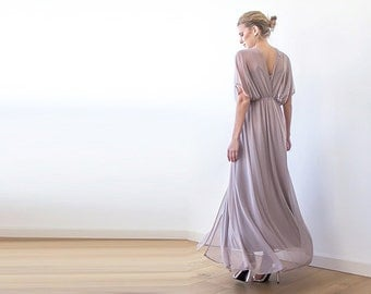 Taupe maxi sheer chiffon dress with long bat sleeves 1027