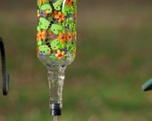 Whimsical Hand Painted Hummingbird Feeder with Dragonflies and flowers with a flower Spout