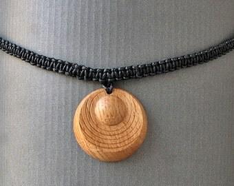 Wooden pendant drop macramé DIANA