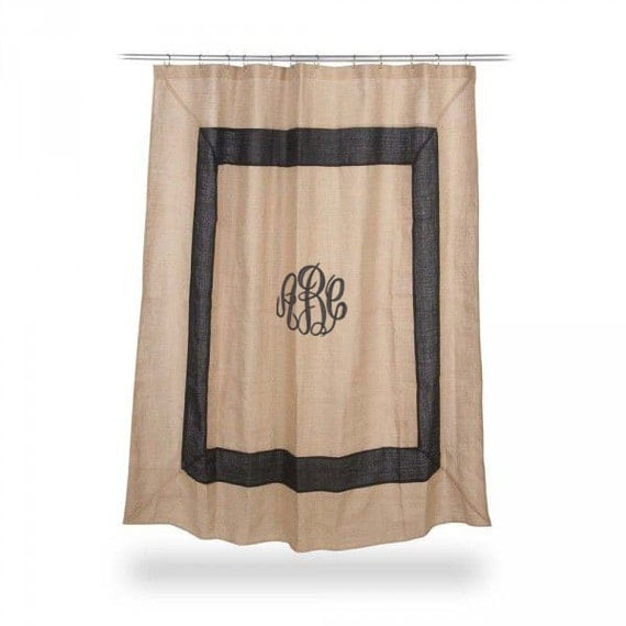 Monogrammed Burlap Shower Curtain BLACK boarder Font shown MASTER ...