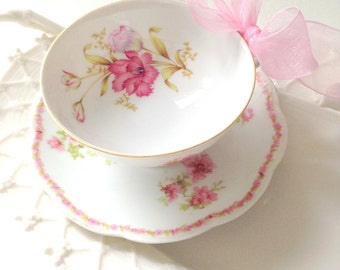 Vintage Fine Porcelain China Limoges Tea Cup and Saucer Tea Party Cottage Style Birthday Gift Inspiration