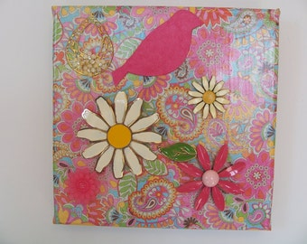 Daisies and paisleys colorful canvas