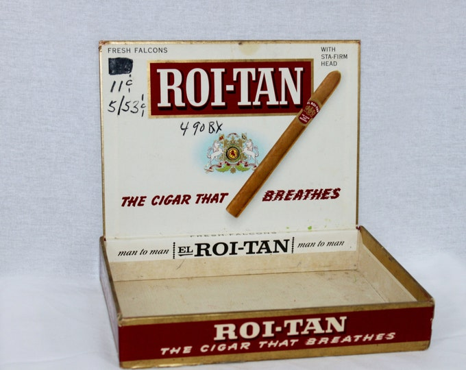 Vintage Roi-Tan Red Cigar Box