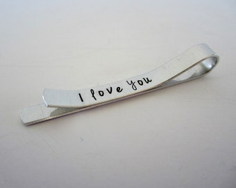 "Hand Stamped ""I love you"" Hidden Message Tie Clip / Hand Stamped ""I love you"" Tie Bar / Gift for Him / Gift for Groom / Gift for Dad"