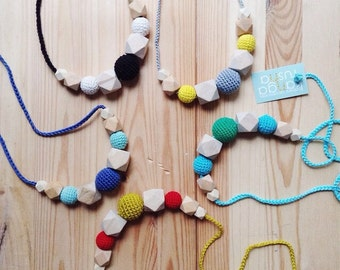 Geometric nursing necklace - organic teething toy for mom - choose your color - Christmas gift under 20 by KangaRusha