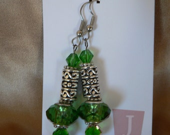 Green and Silver Dangle Earrings