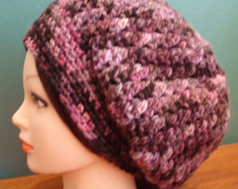 Handmade Crochet Slouch Hat - READY TO SHIP - Hand Dyed Wool - Stunning Colors
