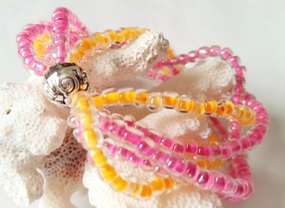 Multi Strand Pink and Orange Stretch Bracelet, Seed Bead, Stack Look, Cuff Bracelet