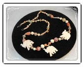 Carved Elephants Necklace - Agates and Beaded Vintage Tribal Look  - Neck-1863a-050713015
