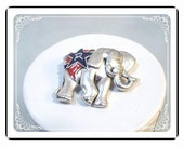 Republican Elephant Brooch - Political Brooch in Silver Tone, Red and Blue  - Pin-1314a-022313000