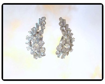 Vintage Ear Climers - Lovely Rhinestone Vintage Clip On's   - E131a-090814008