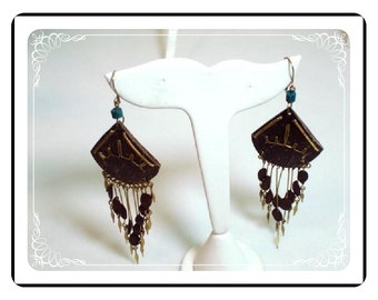 Brassy Babe Earrings  - Vintage Shades of Brown  E355a-04081200