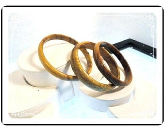 Vintage Wood  Bangle Bracelets Set of Three (3)   Brac-1011a-082012000