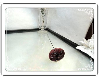 Amethyst Glass Hatpin - Victorian Art Nouveau Period, Paisley Extra Long  Hatpin-007a-051413000