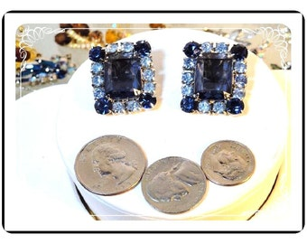 Vintage Juliana Earrings - Lush Lg Blue Rectangle Baguette Rhinetones  D&E 012a-090412031