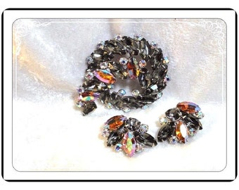 Garne Signed Demi -  Vintage Brooch & Earrings Demi Parure Set - Demi-1472a-083013000