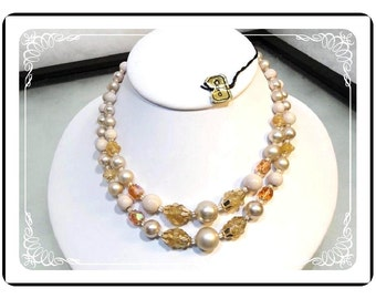 Signed Coro Necklace - Winter White Pearlescent 2-Strand Necklace - 1806a-121812000
