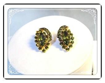 Olivine Green Clip-ons -  Rhinestone Vintage Earrings - Bling - E3384a-063013000