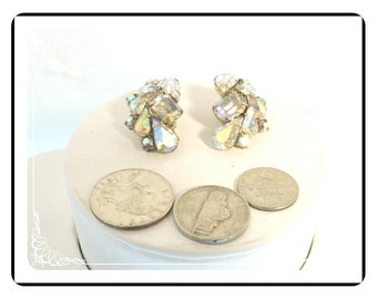 Aurora Borealis Earrings - Vintage Clip on Rhinestones   - E864a-083012000