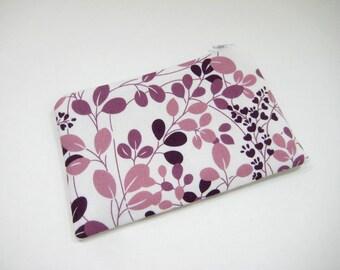 Purple Flower Pouch, Floral Cosmetic Bag, Gadget Accessory