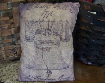 Primitive Stained Liberty Bell Vintage Logo Pillow Tuck