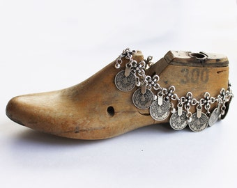 Gypsy jewelry - Anklet or boot bracelet, silver boho coin ankle bracelet