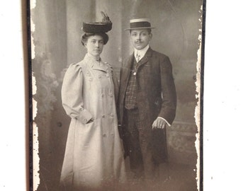 Antique Cabinet Card of Fabulous and Fashionable Couple taken in Zurich with Hats and Handlebar mustache