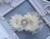 Girls Hair Accessories-Ivory-Shabby-Flower Headband-Wedding-Bridal-Flowers for Hair-Lace-Pearls-Flower Girl-Baby-Infant-Baptism-Christening