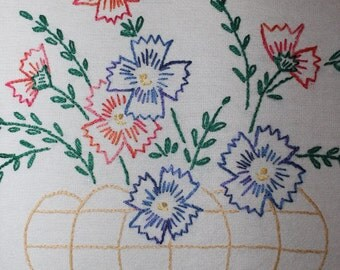 Hand Embroidered Tea Towel Dish Towel ~ Flowers