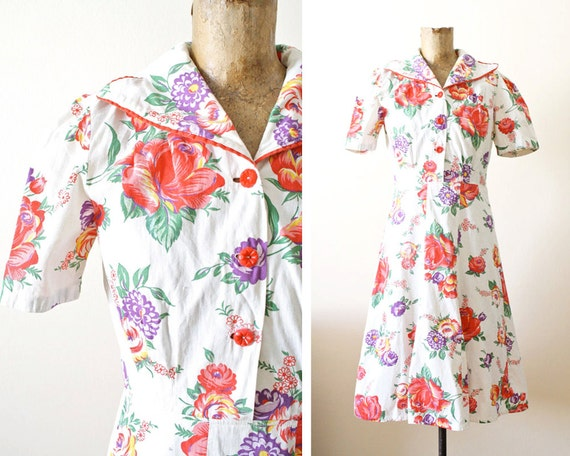 1940s Dress - 40s Floral Dress - Floral Print Mini Dress - Womens 40s Spring Dress Small