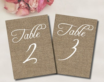 Table Numbers 1-30 // INSTANT DOWNLOAD // Printable // 5x7 // 4x6 // Burlap // #PBP92