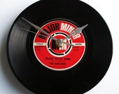 "The DUBLINERS Vinyl Record CLOCK recycled 7"" single ""Black Velvet Band"" Unusual gift for Irish music enthusiasts dad mum grandad anniversary"