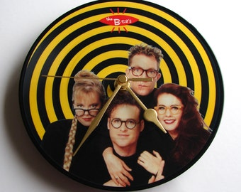 """B52s Vinyl Record CLOCK made from recycled 7"""" Picture Disc. Fun gift for kitsch glam 80s rock fans girls women co worker yellow black swirls"""