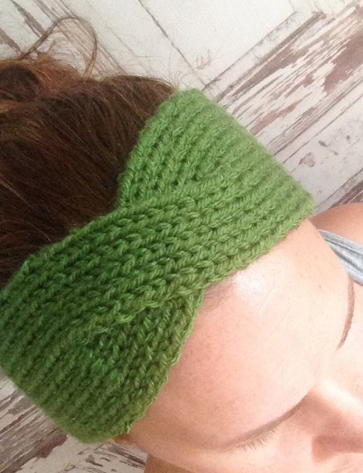 KNITTING PATTERN Twisted Turban Style Headband Ear Warmer