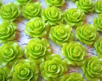 Resin Rose Flower, 6 pcs 20mm Lime Green Resin Flower Cabochon, Perfect for Bobby Pins, Rings, Earrings