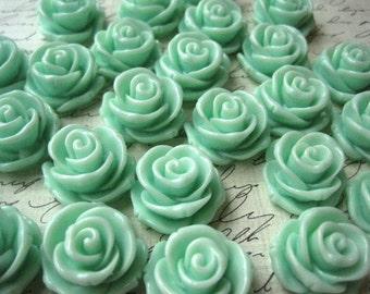 Mint Green Roses / 6 pcs 24mm Resin Rose Cabochons / Large Rose Flower Cabochon