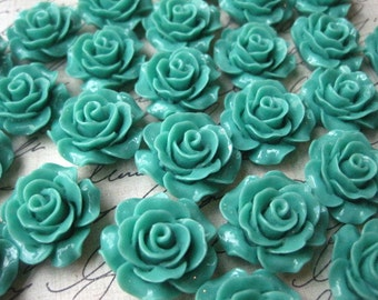 Resin Cabochon Flower / 6 pcs Teal Roses Cabochon Flat Back 19mm / Perfect for Earrings, Necklaces, Bobby Pins