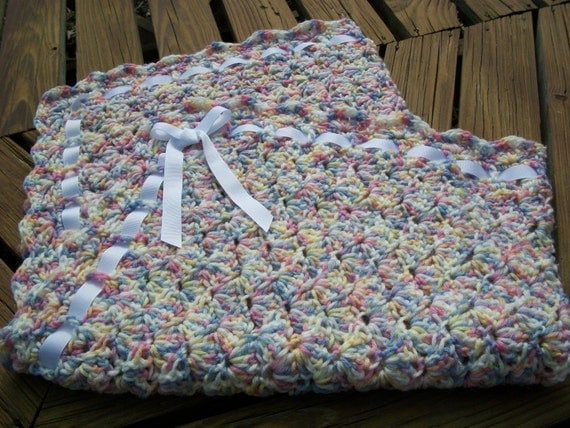 Crochet Baby Blanket Patterns Variegated Yarn : Baby Blanket/Afghan Hand Crocheted Variegated by ...