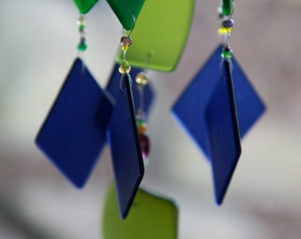 """Recycled Beach Glass Mobile,Wind Chime """"One of a Kind"""", Windchime,  wedding, Stained Glass"""