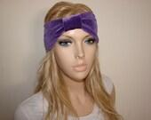 purple velvet headband  turban headband, Hair Band, Woman boho head wrap, hippie head wrap, head scarf