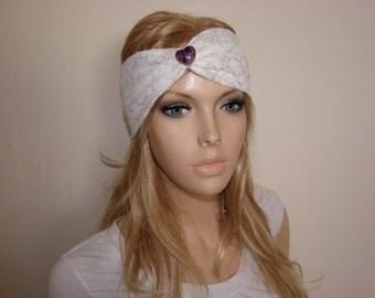 Boho headband with heart jewel ivory gold lace headband turban headband Boho Chic hair band free spirited woman indie headband medallion