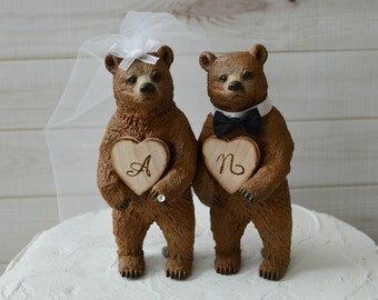 country bear wedding cake topper rustic brown bear custom initials bride and groom names hunting hunter wood burnt groom's cake bear wedding