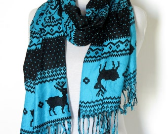 Nordic Scarf Oversized Scarf Men Women Scarf deer Infinity Scarf Winter Holiday Fashion Accessories Valentines Gift Ideas For Her For Him
