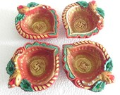 Indian handicrafts Diwali Diya / Oil Lamps - Multy color Terracotta Diya Set Of 4