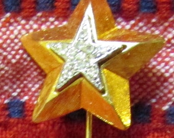 Art Deco  star stickpin pave  clear rhinestones BLING