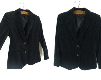 Vintage 1970s Black Velvet Blazer Tailored Jacket - Size 12UK 8US