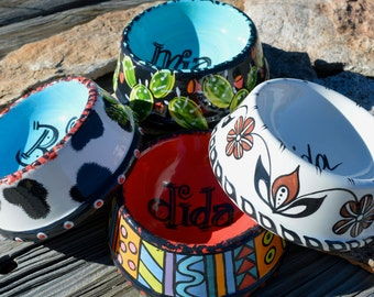 Southwest Pet Bowls, Hand Painted, Ceramic, Personalized, Two Sizes